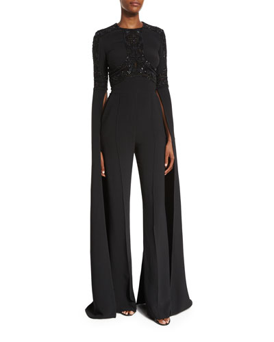 Beaded Bell-Sleeve Flared Jumpsuit, Black