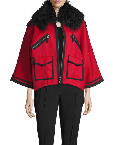 Tipped Wool Coat w/Shearling Fur Collar, Red