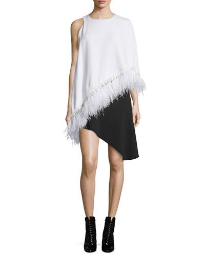 Asymmetric Feather-Fringe Cape Dress, White/Black