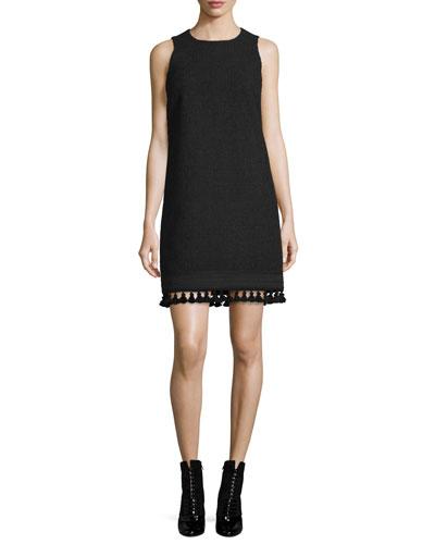Sleeveless Tweed Tassel-Hem Dress, Black