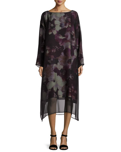 Printed A-Line Dress w/Chiffon Overlay, Purple