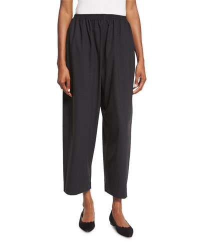 Cropped Stretch-Wool Trousers, Coal