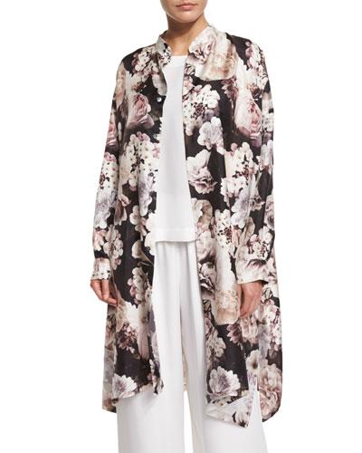 Mandarin-Collar Floral-Print Top, Brown