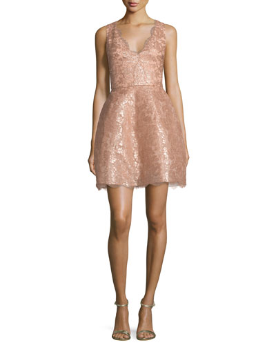 Sleeveless Metallic Chantilly Lace Cocktail Dress, Rose Gold
