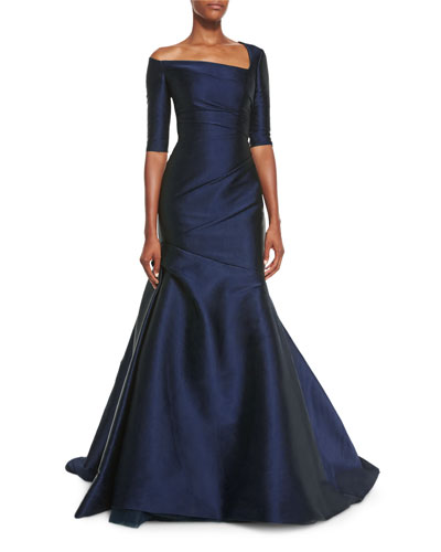 Asymmetric 3/4-Sleeve Trumpet Gown, Forest Green