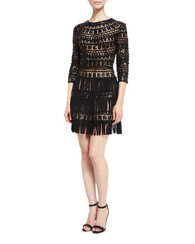 3/4-Sleeve Beaded Tulle Dress w/Suede Fringe, Black
