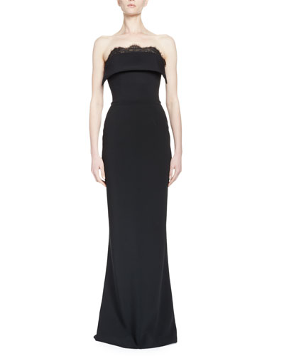Strapless Fold-Over Column Gown, Black