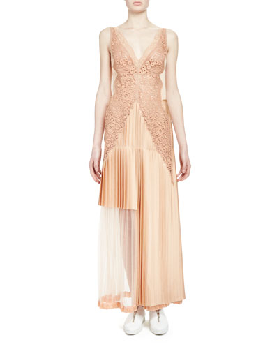 Pleated Lace-Trimmed Gown, Peach