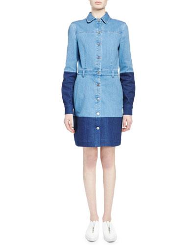 Long-Sleeve Two-Tone Denim Dress