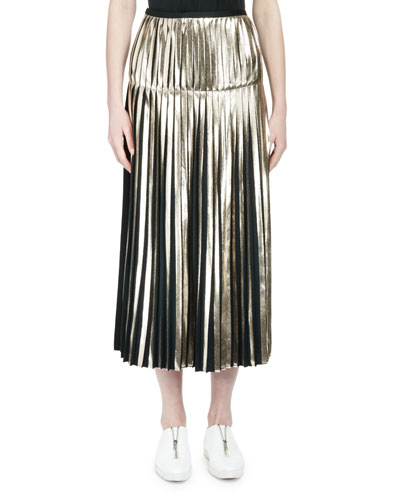 Metallic Pleated Midi Skirt, Dark Green/Gold