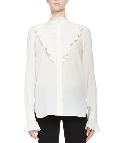 Ruffle-Trim Crepe de Chine Blouse, White