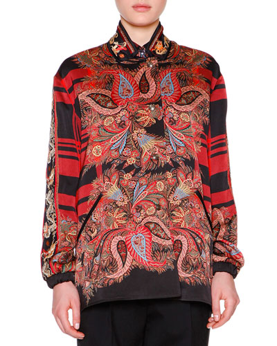 Reversible Fern Paisley Plaid Charmeuse Jacket, Red/Black