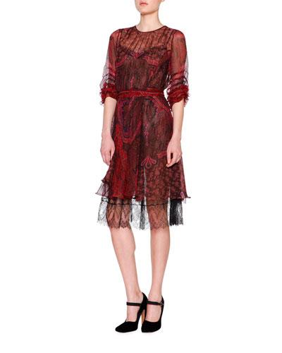 Ruffled Floral Plaid Dress w/Lace Hem, Red