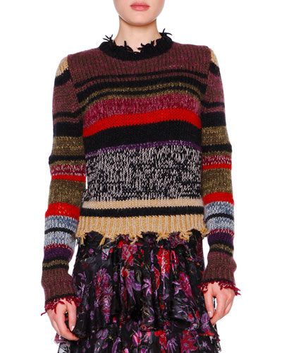 Long-Sleeve Raw-Edge Striped Sweater, Violet/Multi