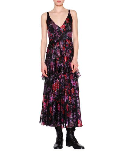 Sleeveless Floral-Print Tiered Midi Dress, Purple/Red/Black