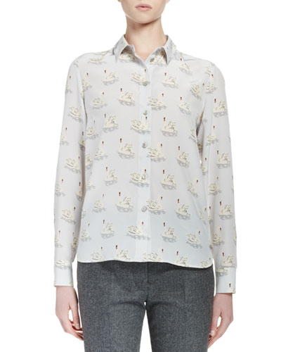 Swan-Print Crepe de Chine Blouse, Light Blue