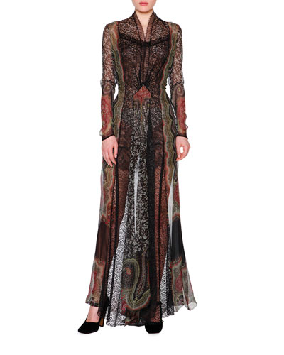Long-Sleeve Patchwork Fil Coupe Gown, Multi