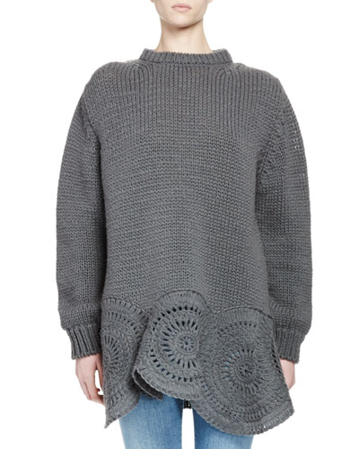 Oversized Crochet-Trim Knit Sweater, Gray
