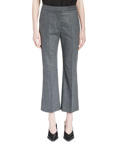 Cropped Flannel Flare-Leg Pants, Gray