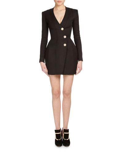 Long-Sleeve Three-Button Wrap Dress, Black