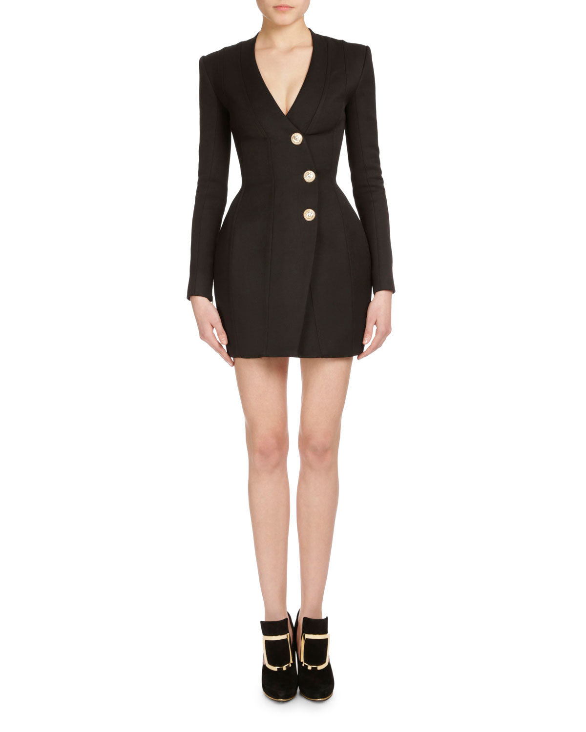 Long-Sleeve Three-Button Wrap Dress, Black