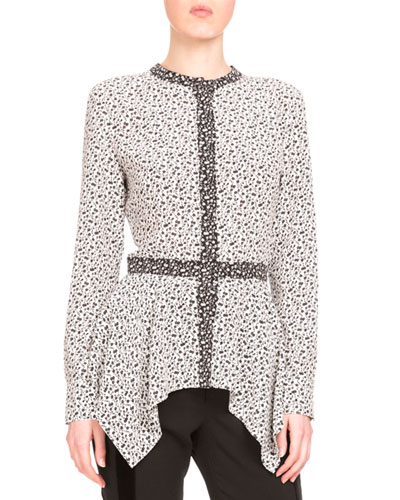 Long-Sleeve Crepe de Chine Peplum Blouse, Black/White