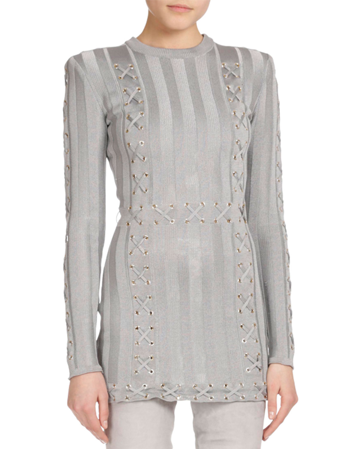 Long-Sleeve Lace-Up Tunic Sweater, Gray