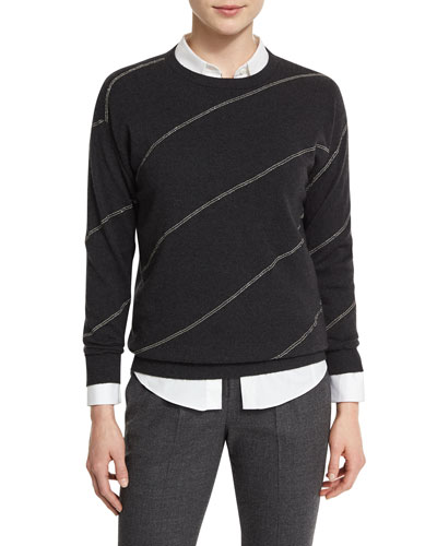 Monili Diagonal-Striped Sweater, Anthracite