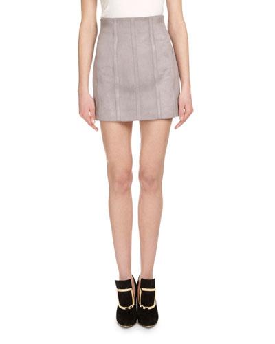 Seamed Suede High-Waist Mini Skirt, Gray
