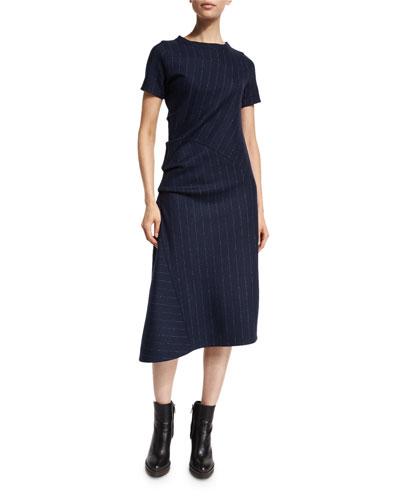 Short-Sleeve Asymmetric Pinstriped Dress, Navy