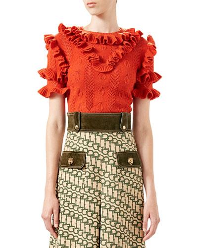 Wool Knit Ruffle Top, Orange