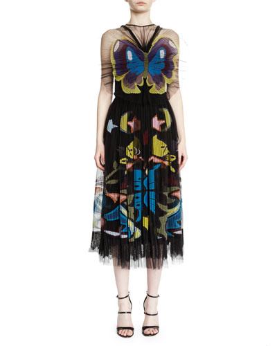 Butterfly Tulle Illusion Midi Dress, Black