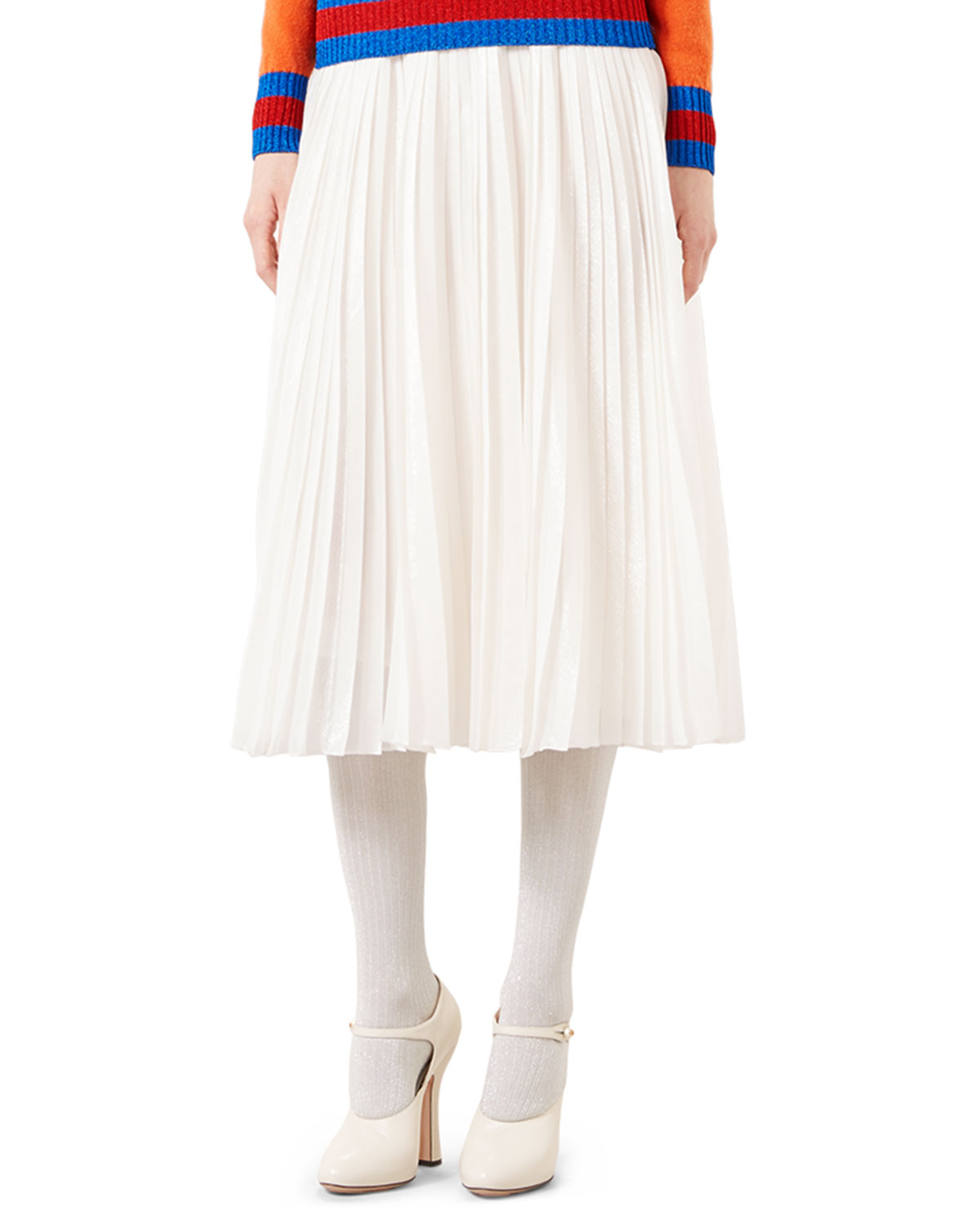 Iridescent Organdy Pleated Skirt, Ivory