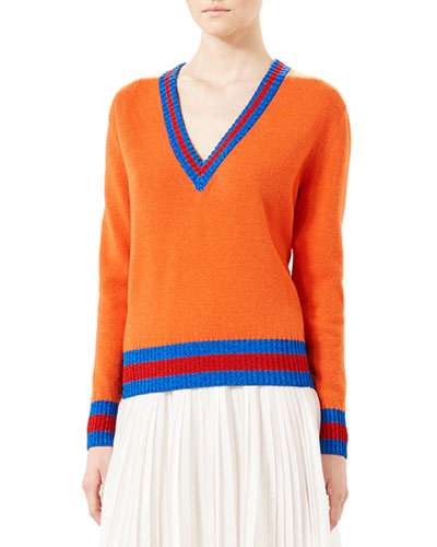 Wool V-Neck Knit Top w/Web, Old Orange