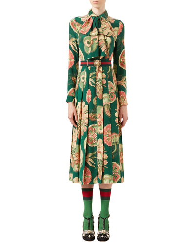 Sea Life Printed Crepe Dress, Bright Green