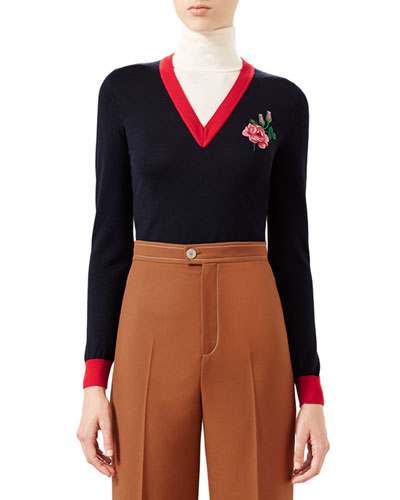 Embroidered Wool Knit Top, Navy/Bone/Red