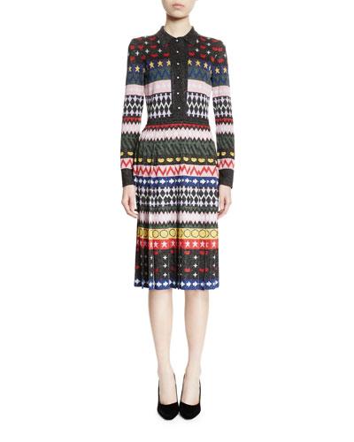 Cecile Long-Sleeve Intarsia Dress, Multi Colors