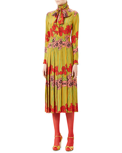 Soleil Iris Silk Dress, Multi