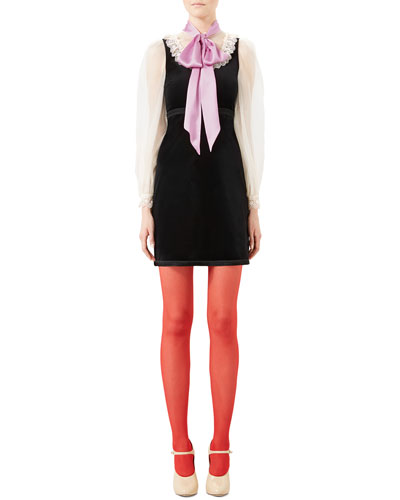 Velvet Dress with Bow, Black/Almond