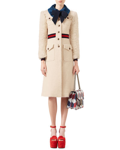 Tweed Coat with Fur Trim