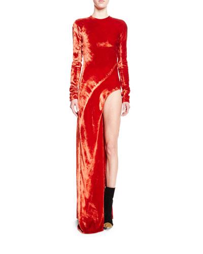 Long-Sleeve Velvet Leg-Hole Gown, Orange