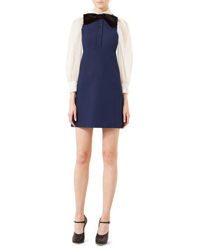 Cady Crepe Long-Sleeve Dress, Navy/White