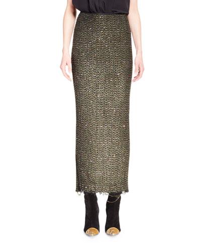 Long Sparkle Tweed Pencil Skirt, Olive