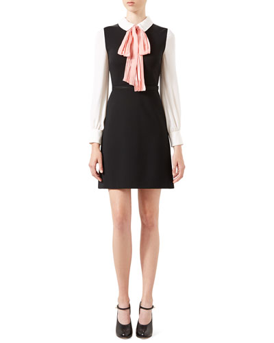 A-Line Jersey Dress with Bow, Black/White/Peach