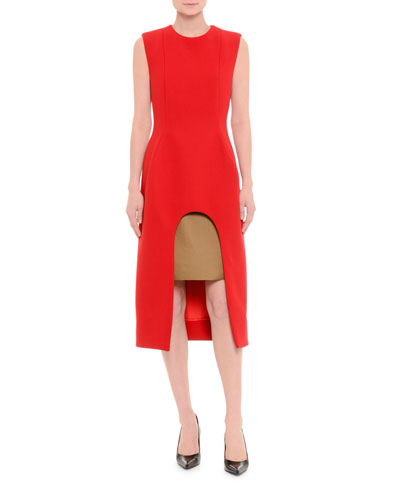 Sleeveless Wool Crepe Arch-Front Dress, Red