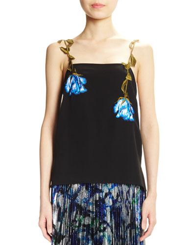 Crepe de Chine Camisole w/Floral Appliques, Black
