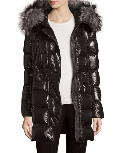 Shiny Quilted Down Coat w/Fur Hood, Black