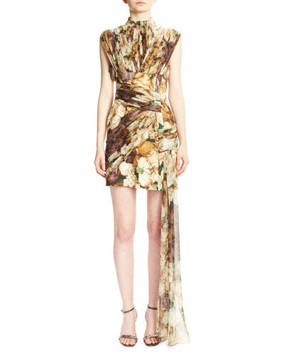 Floral-Print Wrap-Front Mini Dress, Pink