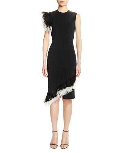 Feather-Trimmed Ponte Cocktail Dress, Black