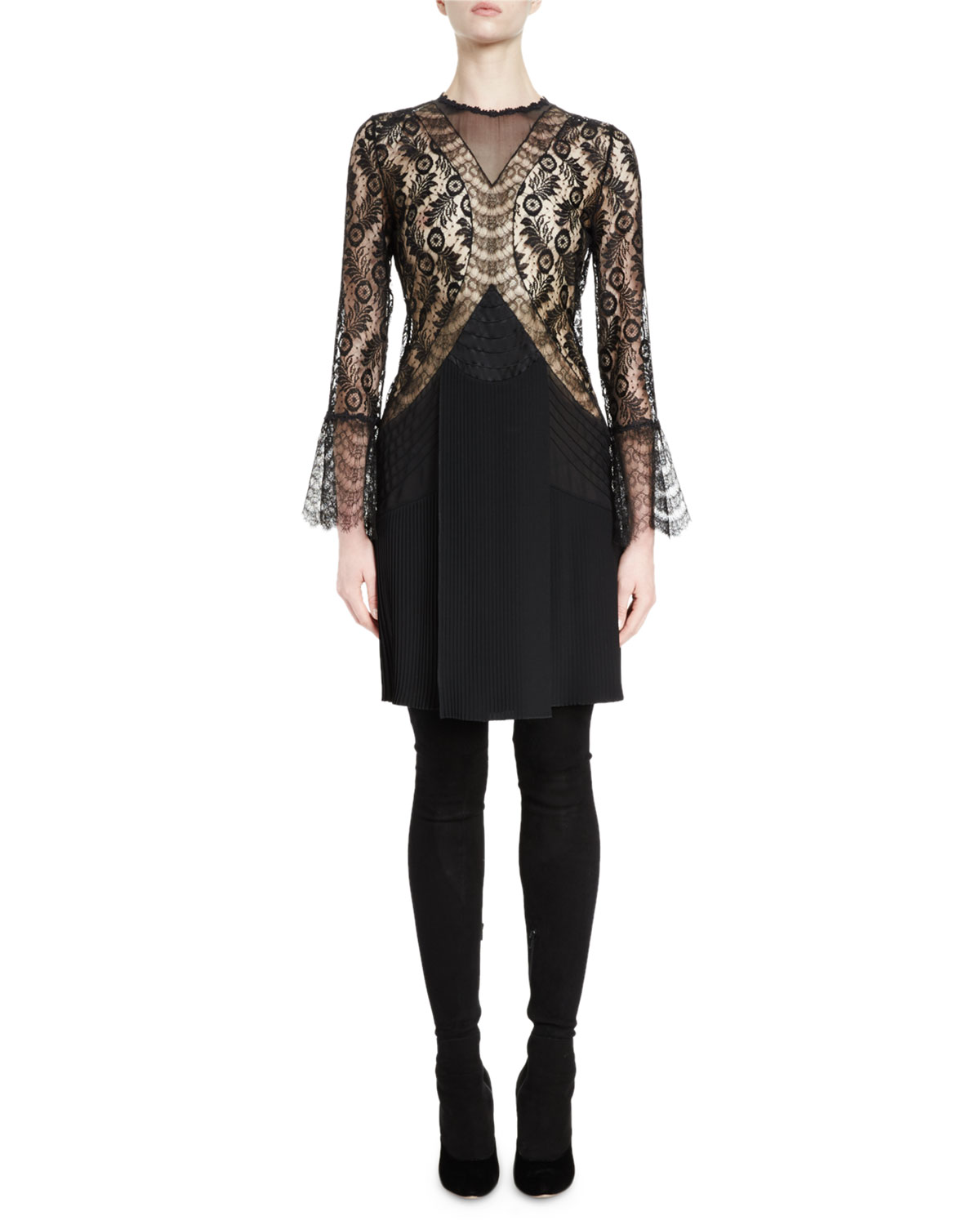 Bell-Sleeve Lace-Trim Dress, Black